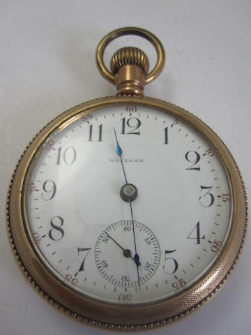 An open faced pocket watch, by Waltham