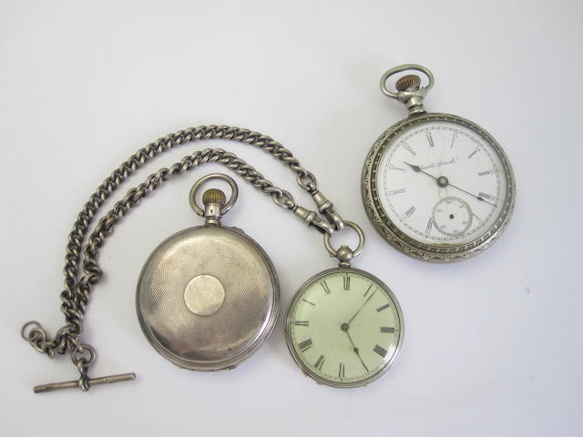 A collection of three pocket watches