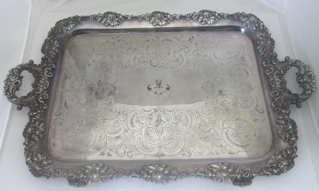 A twin handled Sheffield plate tray