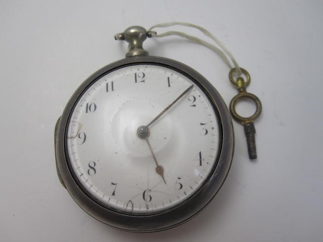 A silver pair cased verge pocket watch, by Charles Davidson,