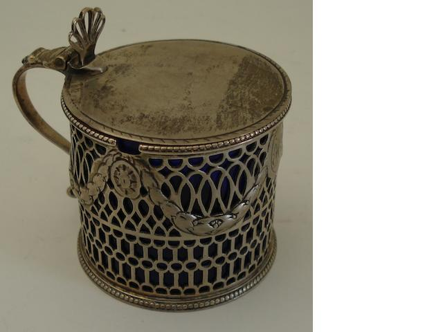 A George III silver mustard pot Possibly by Burrage Davenport, London 1775