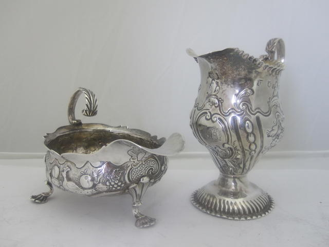 A George III silver sauce boat London 1745, other marks rubbed
