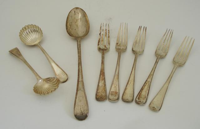 A small collection of Victorian silver flatware By Chawner & Co., London 1857