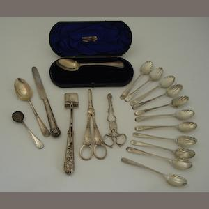 A small collection of silver flatware Various makers and dates