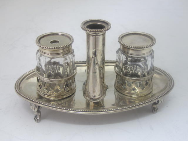 A small George III silver inkstand  Maker's mark rubbed, London 1800