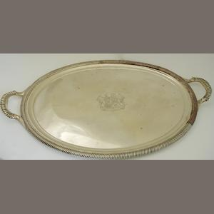 A twin handled Sheffield plate tray  (repairs)