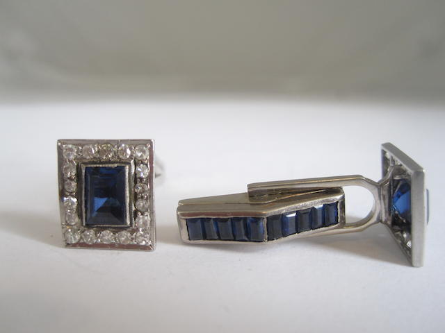 A pair of synthetic sapphire, sapphire and diamond cufflinks,