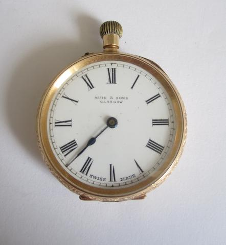 An open faced fob watch, by Muir & Sons