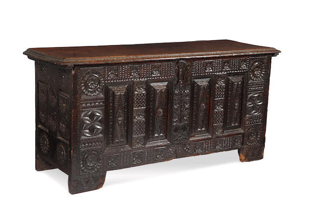 A Spanish 17th or early 18th Century chest large coffer