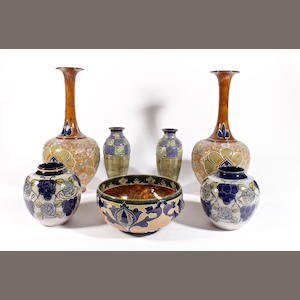 Three pairs of Doulton vases and a bowl