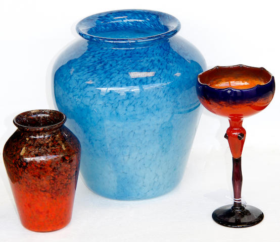 A pair of monart glass vases,16cm, a blue Monart vase, 26cm, another with white speckled ground and a goblet. (5)