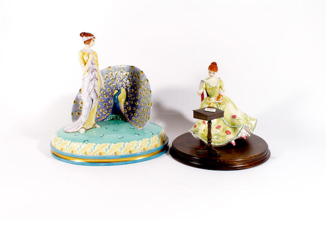 Two Royal Doulton limited edition figures, 'Juno and the Peacock' and 'The Gentle Arts - Writing'