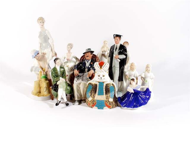 Eleven Royal Doulton figures and a Royal Crown Derby model of a cat