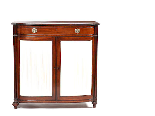 A George IV mahogany 'D' shaped dwarf side cabinet
