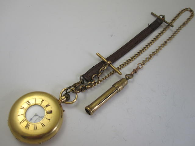 An 18ct gold half-hunter pocket watch, by Hall & Co.,