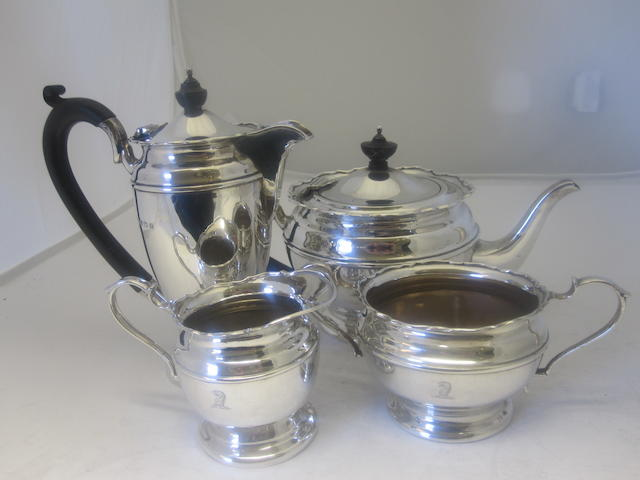 A four piece silver tea service By Mappin & Webb, Birmimgham 1924