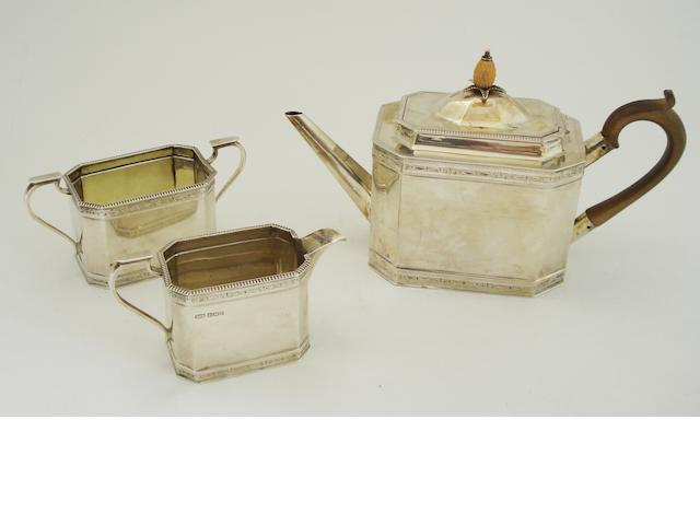 A three piece silver tea service By Roberts & Belk Ltd, Sheffield 1928