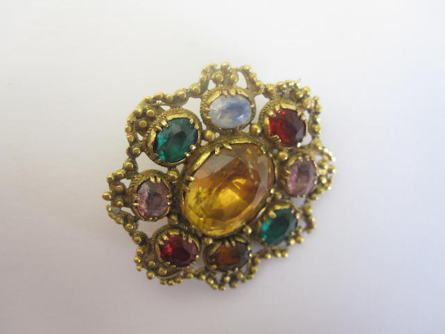 An early 19th century multi gem-set brooch