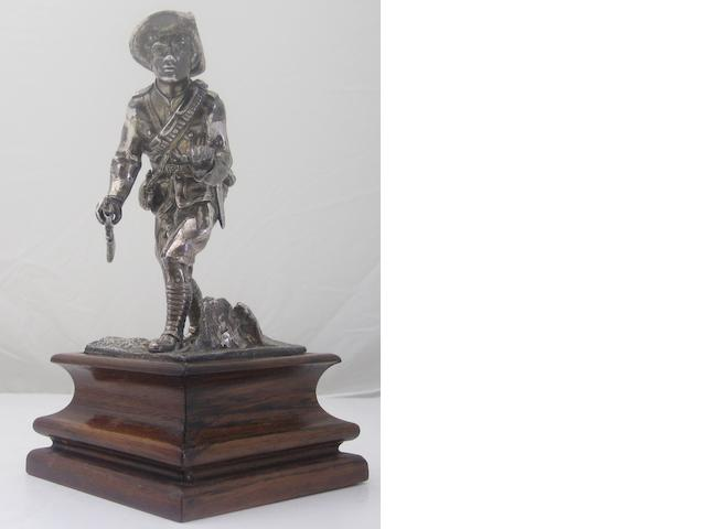 A Boer War soldier silver statue By Daniel & John Welby, London 1901