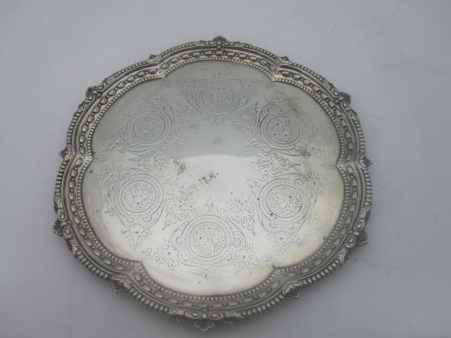 A late Victorian small silver salver By Edward Hutton, London 1892