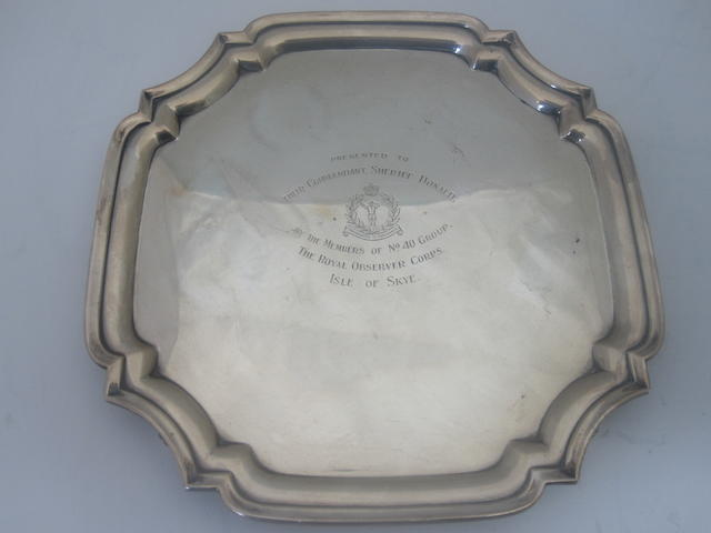 A silver salver With maker's mark GH, Sheffield 1944