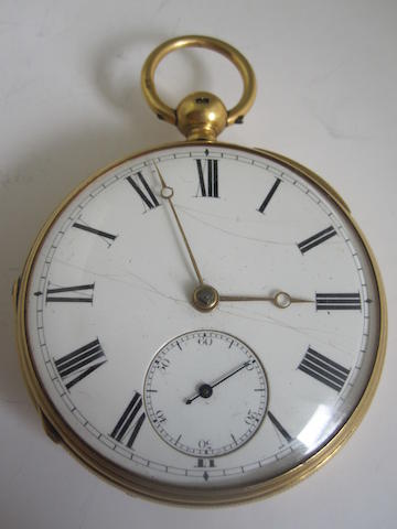 An 18ct gold openfaced pocket watch, by James Aitken,