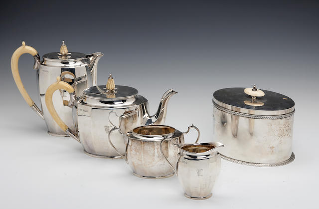 A silver four piece tea service, E and S, Sheffield 1937,  (4)
