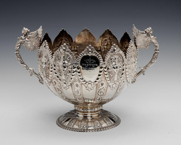 Of 1st South Lancashire Regimental interest; A Victorian two-handled silver presentation pedestal bowl by Gibson and Langman, London 1896