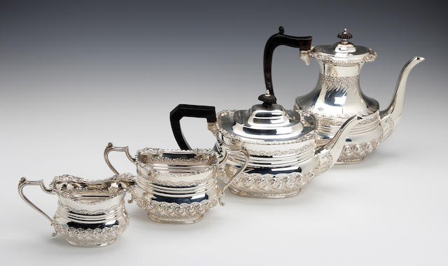 A Victorian silver four piece tea and coffee service, by Charles Henry Hattersley, Sheffield 1899,   (5)