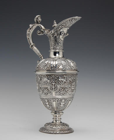 A Victorian silver Cellini ewer  by Alfred Ivory, London 1866