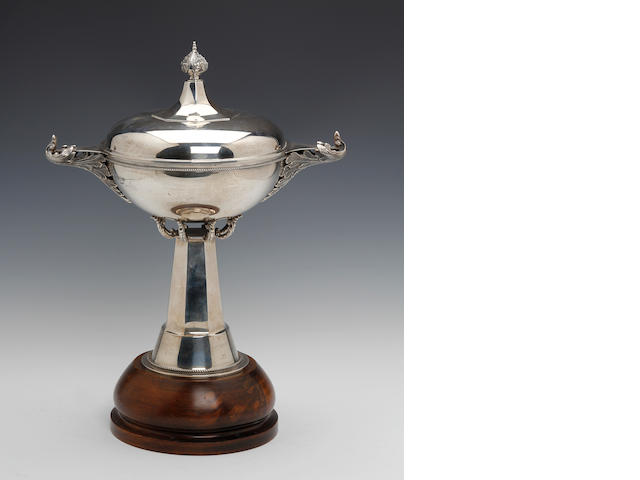 A two handled silver lidded trophy by the Barnards, London 1927, Dublin import marks for 1928