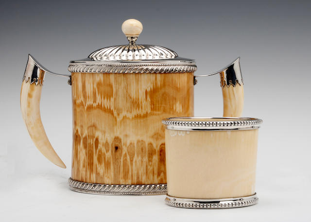 A Victorian electroplated mounted ivory two-handled biscuit box and beaker unmarked, circa 1880