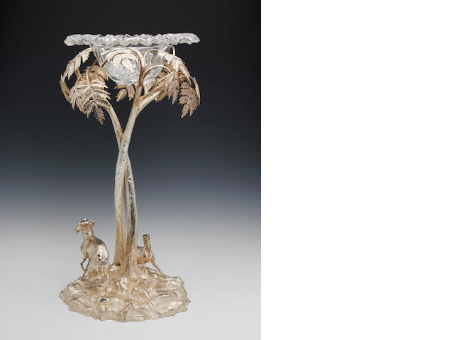 A Victorian electroplated table centre-piece by Elkington and Co, circa 1853