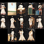 A group of twelve paintings on mica depicting servants, including a groom, a water-carrier (bhisti) and an ayah with a European child Patna, circa 1860(13)