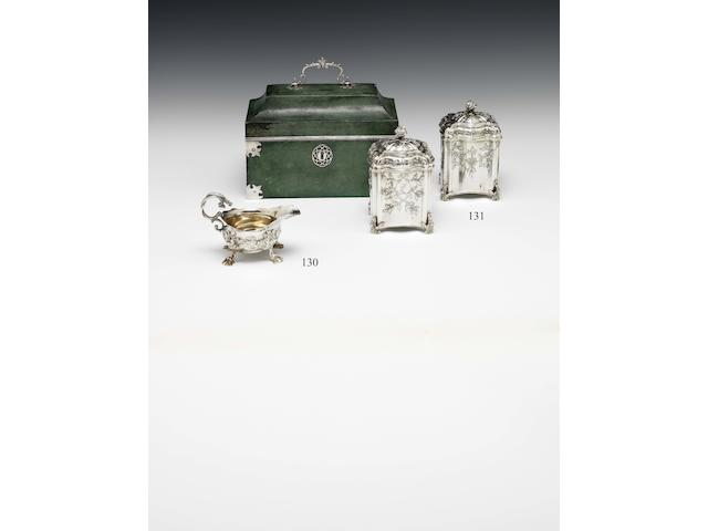 A pair of George III silver caddies contained in a shagreen case By William Vincent, London 1771  (3)