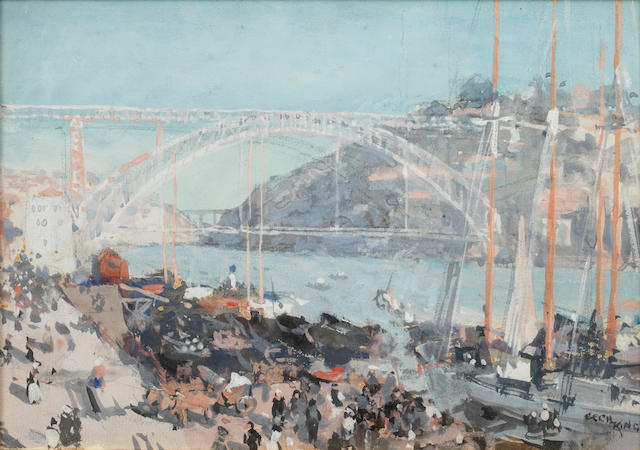 Cecil George Charles King (British, 1881-1942) View of a bridge over a continental harbour