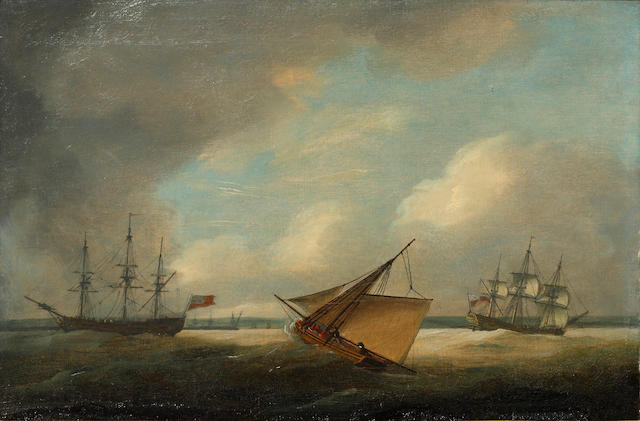 Thomas Luny (British, 1759-1837) Various shipping off a coastline