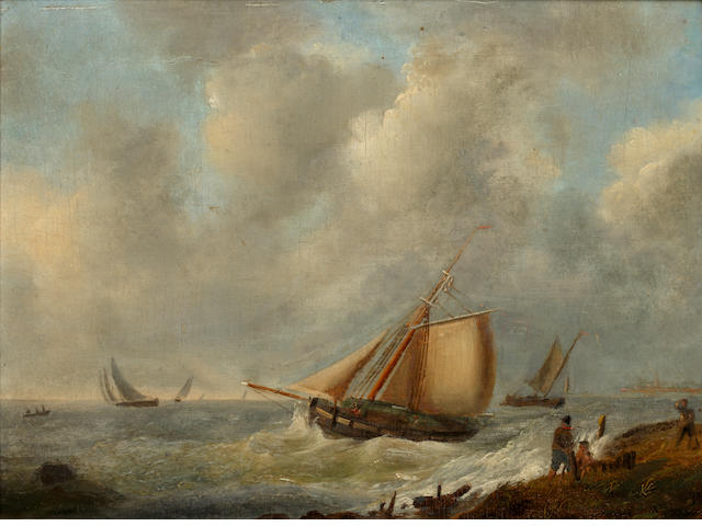 Johannes Hubertus Reygers (German, 1767-1849) Fishing Vessels on a Blustery Day