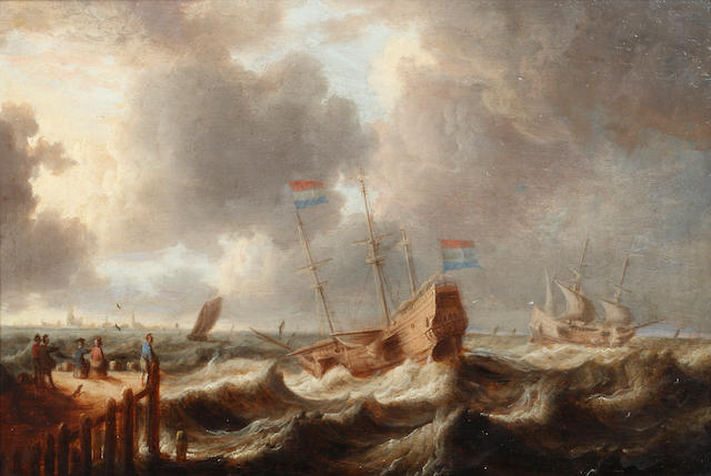 Circle of Jan Peeters (Antwerp 1624-1677) Shipping in High Seas