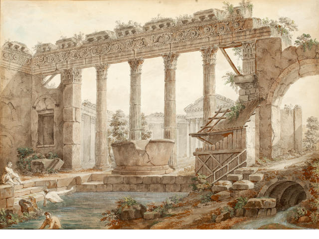 Charles-Louis Clérisseau (French, 1722-1820) Bathers at Roman Ruins 31 x 44cm