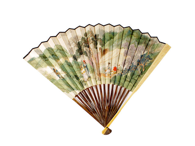 A folding Chinese fan, Zhou Piji (early 20th century), Lady Wenji's Return 1940