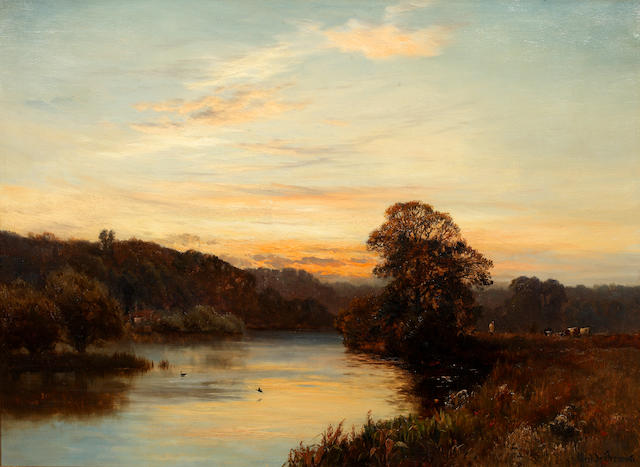Alfred de Breanski, River scene with cattle & drover, signed, oil on canvas