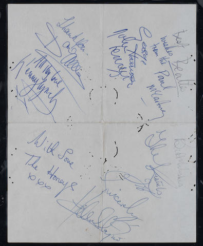 Beatles autographs, 1963,