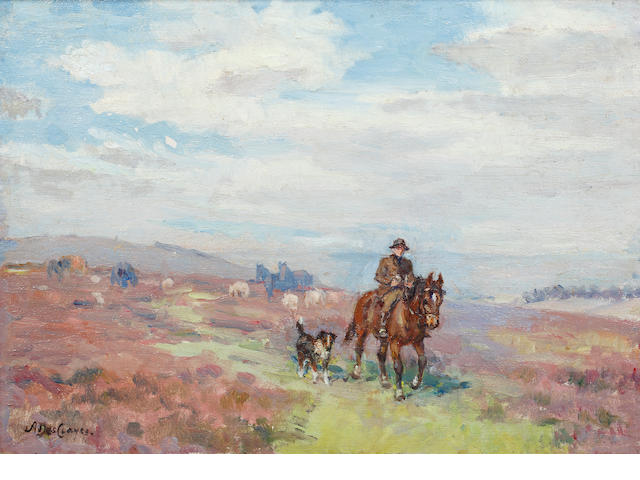 Alice des Clayes (Canadian, 1890-1968) Heather Time, Warren Hill, Dartmoor 26.5cm x 37cm.