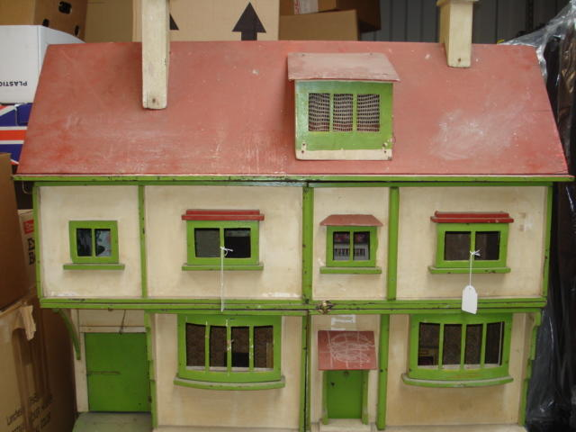 Large painted wooden dolls house on stand, English 1930's