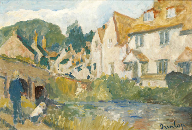 Ronald Ossory Dunlop, NEA, ARA, RBA (British, 1894-1973) By the stream, French village