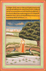 Three ragamala scenes: Kakubha ragini: a maiden with two peacocks in a landscape; Desakh ragini: female acrobats exercising; Gauri ragini: a maiden holding a garland of flowers in a landscape Jaipur, early 19th Century(3)