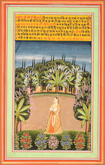 Three ragamala scenes: a maiden with two peacocks in a landscape; female wrestlers exercising; a maiden holding a garland of flowers in a landscape Jaipur, early 19th Century(3)