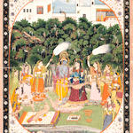Radha and Krishna in a grove in the grounds of a palace with female attendants Kangra, circa 1830