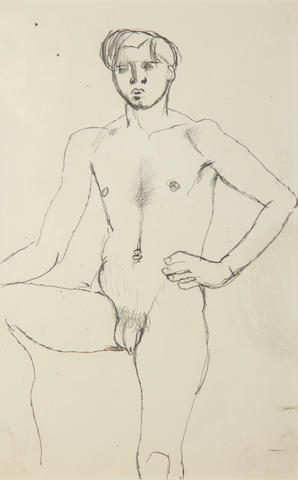 Keith Vaughan (British, 1912-1977) Nude with Hand on Hip